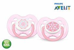 Chupeta de Bebê Ortodôntica Contemporânea 0 6 Meses Rosa Philips Avent 02 unidades