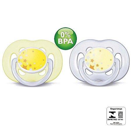 Chupeta de Bebê Ortodôntica  Kight Time Philips Avent 6 a 18 meses-  02 unidades