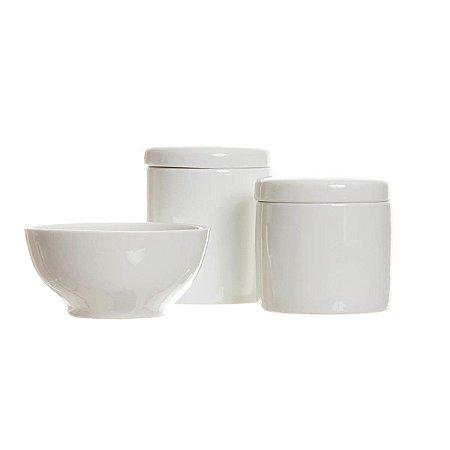 Kit Higiene Porcelana com 3 peças - Branco