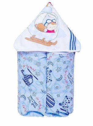 Toalha de Banho com Capuz forrada de Fralda - Azul Avião