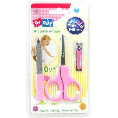 Kit Tesoura Para Unhas Rosa - Pais e filhos