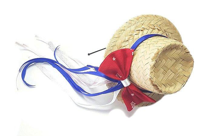 Tiara c/ Chapéu de Laço Vermelho