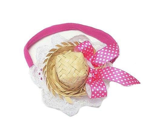 Faixa c/ Mini Chapéu Rosa Poá