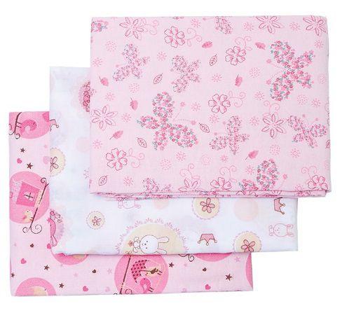 Conjunto Cueiro Estampado rosa 80x50- 3 unidades - Papi Têxtil