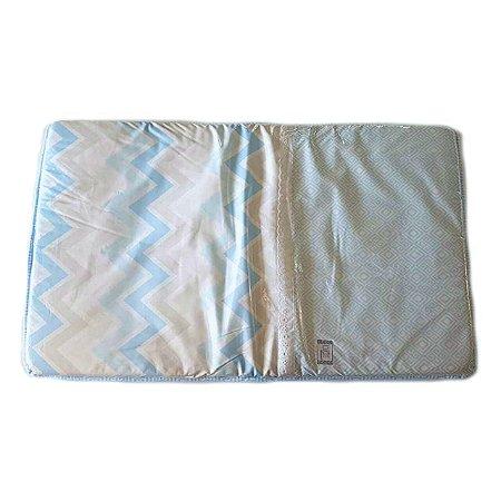 Trocador de Fraldas Plastificado Chevron Azul