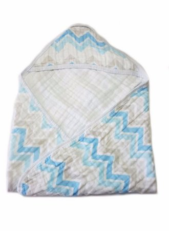 Toalha de Banho Swaddle Chevron Azul/cinza