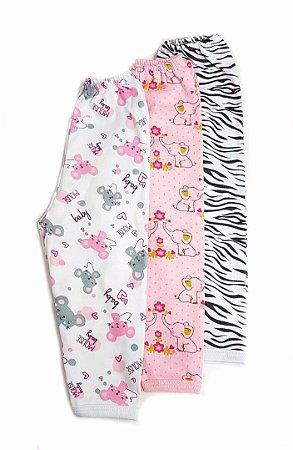 Kit de 3 calças Estampadas  Menina