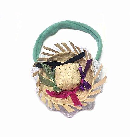 Faixa verde c/ Mini Chapéu colorido