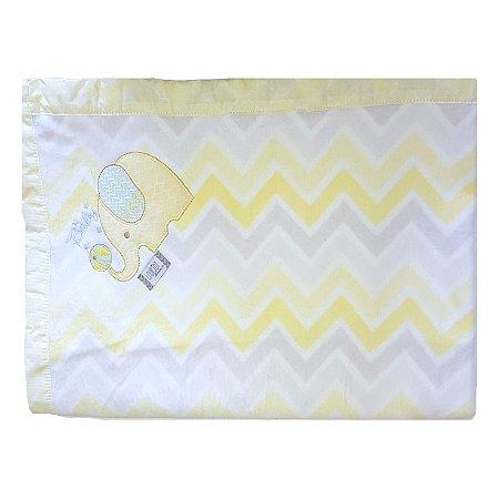 Cobertor Soft para Bebê Bordado- Chevron Amarelo