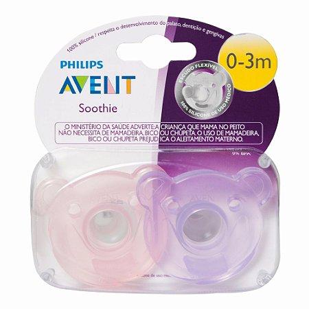 Chupeta Soothie Calmante Philips Avent 0-3 c/ 2 Menina