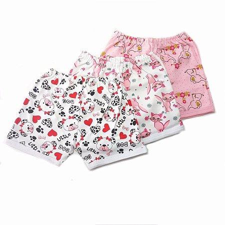 Kit de 3 Shorts Estampados Menina