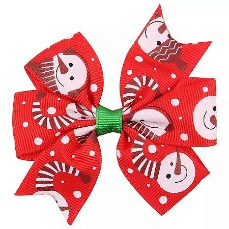 Laço Natal Vermelho - Boneco de Neve