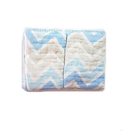 Paninho de Boca Soft  2 unidades- Chevron Azul Bebe