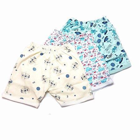 Kit de 3 Shorts Estampados Gatinho Bege