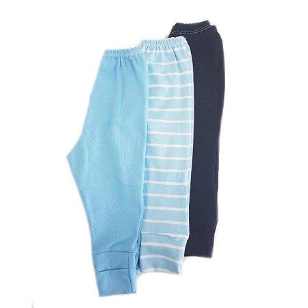 Kit 3 calças Lisas c/ pé Reversível - Azul