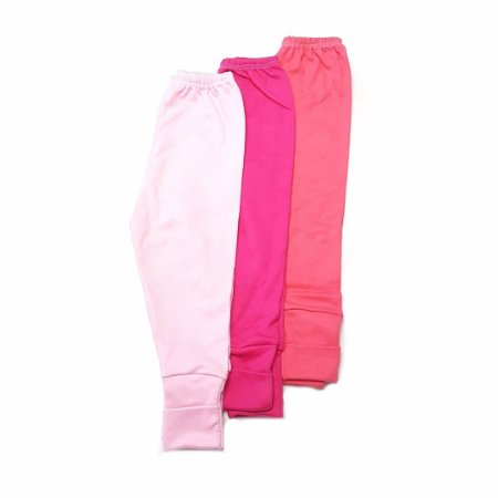 Kit 3 calças Lisas c/ pé Reversível - Rosa
