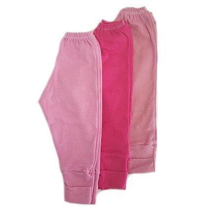 Kit 3 calças c/ pé Reversível - Rosas