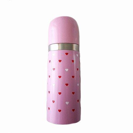 Garrafa térmica Rosa Corações -350ml