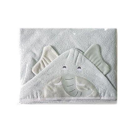 Toalha de Banho com Capuz forrada de Fralda - Elefante Cinza