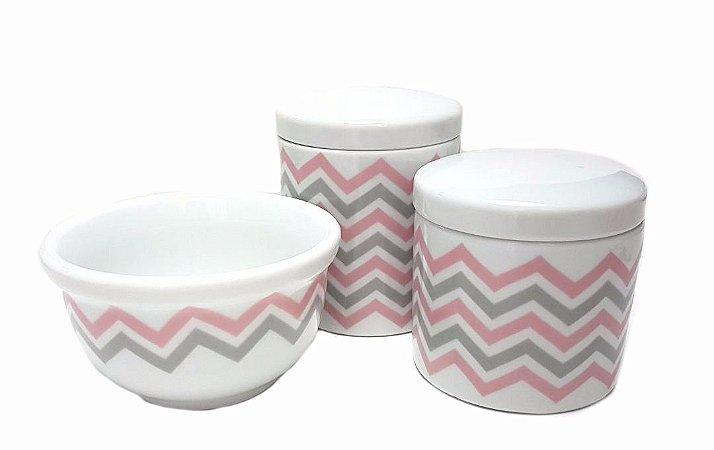 Kit Higiene Chevron rosa/ cinza - C/3