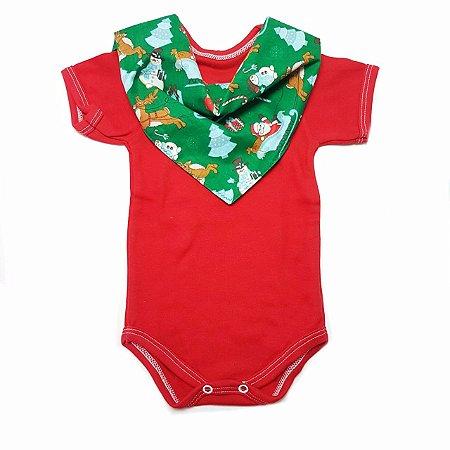 Conjunto de Body Vermelho e Bandana Natal verde Trenó