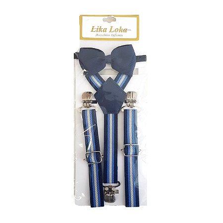 Suspensórios + Gravata Borboleta - Azul
