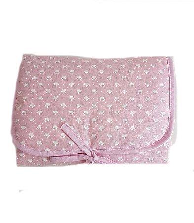Trocador de Fraldas Portátil - Coroinhas rosa