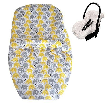 Capa para Bebe Conforto Elefantes Amarelo/cinza