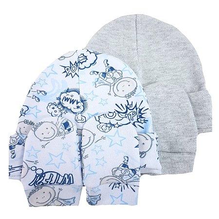 Kit 2 Touca e  2 Luvas 0 a 4 meses 100% algodão- Cinza e super heroi Azul