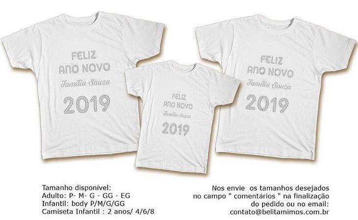 Kit Familia de Camisetas de Ano Novo- 2019 Prata