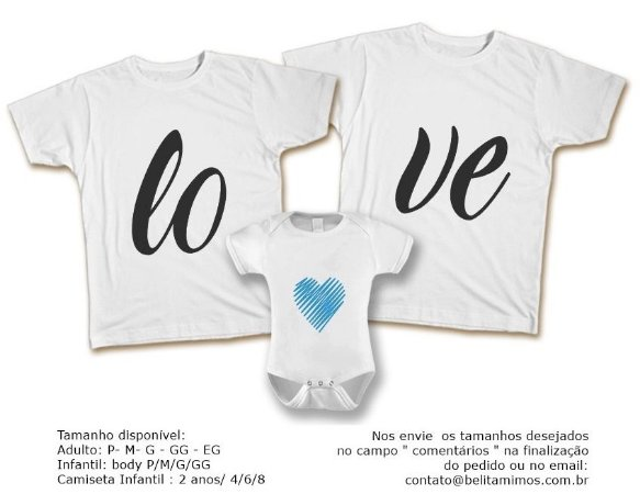 Kit Familia de Camisetas de LOVE AZUL