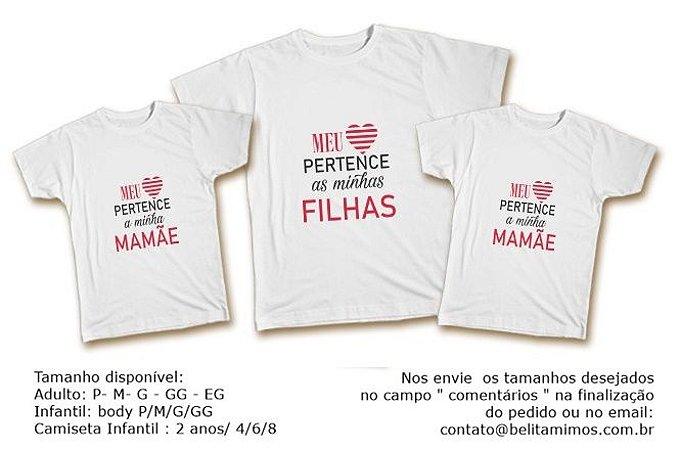 Kit Familia de Camisetas - Meu coração aos meus Filhas