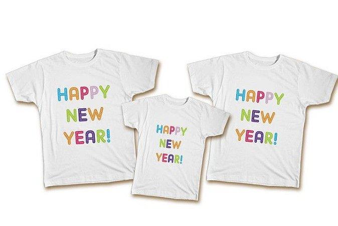 Kit Familia de camisetas de Ano Novo - Colorido