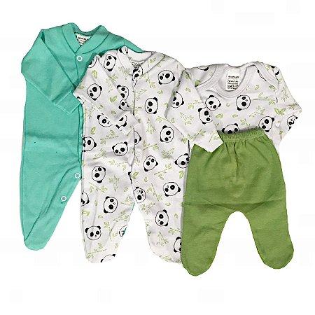 Kit Prematuro 2 Macacões + Body +calça  de Menino - Panda