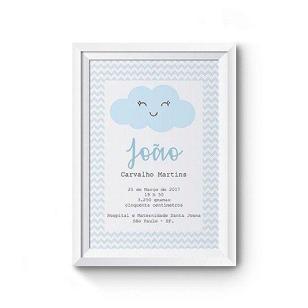 Quadro Decorativo Infantil - Dados de nascimento Nuvem Azul chevron
