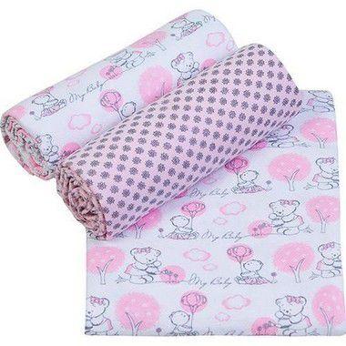 Conjunto Cueiro Papi Composê Estampado Rosa 80x100 - 3 unidades- Papi Têxtil