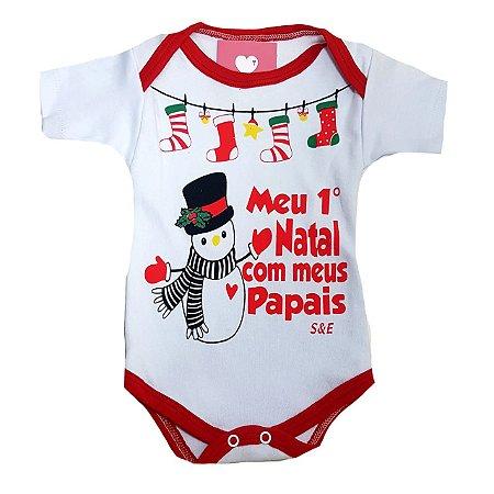 Body de Bebe de Natal - Meu Primeiro Natal com os meus Papais