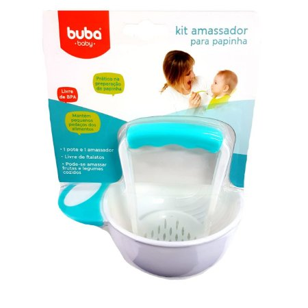 Kit Para Amassar a papinha do bebe- Azul/branco
