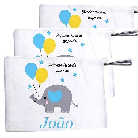 Kit c/ 3 Saquinhos para Maternidade - Elefantinho Azul