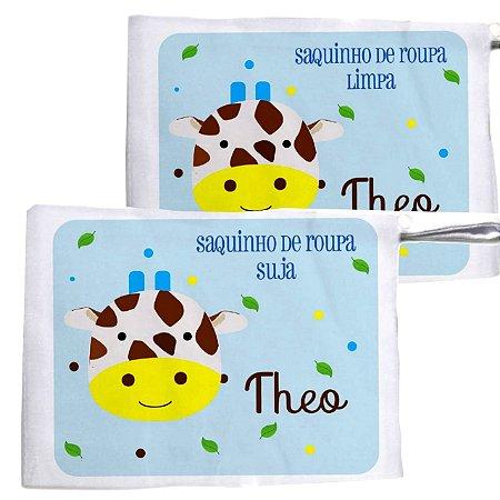 Kit c/ 2 Saquinhos Personalizado para Roupa Suja - Girafinha
