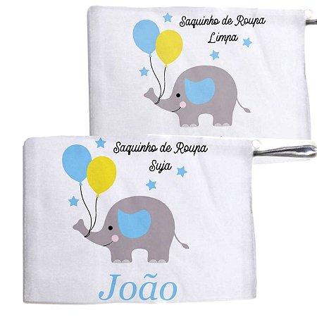 Kit c/ 2 Saquinhos Personalizado para Roupa Suja - Elefantinho com balões