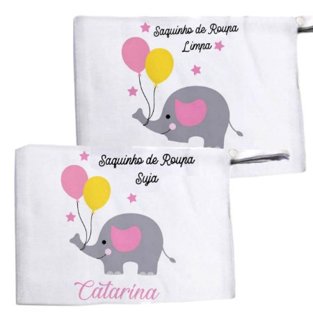 Kit c/ 2 Saquinhos Personalizado para Roupa Suja - Elefantinho com balões Rosa
