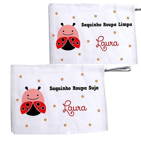 Kit c/ 2 Saquinhos Personalizado para Roupa Suja - Joaninha