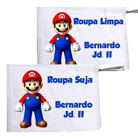 Kit c/ 2 Saquinhos Personalizado para Roupa Suja - Mario