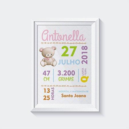 Quadro Decorativo Infantil - Dados de nascimento Ursinho Menina