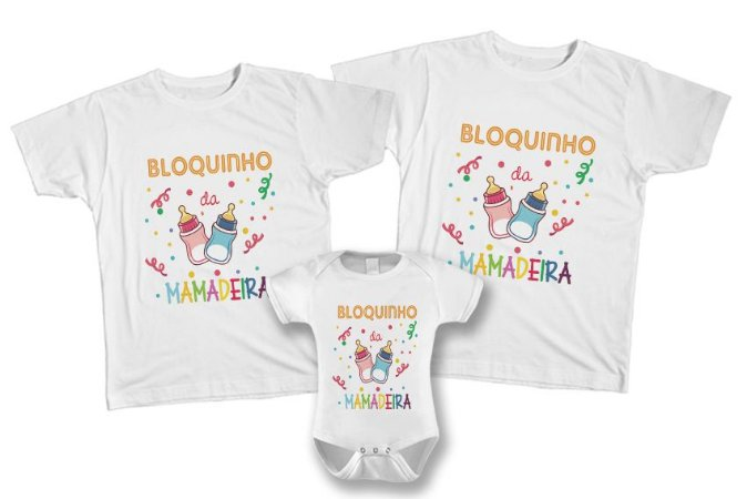 Kit de Camisetas Personalizadas Carnaval - Bloquinho da Mamadeira