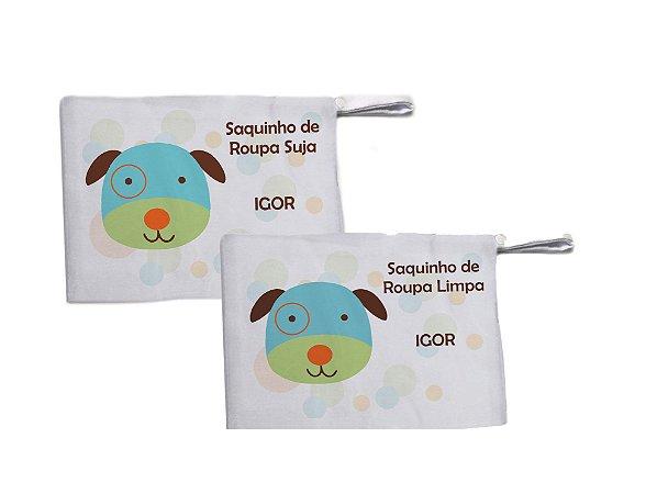 Kit c/ 2 Saquinhos Personalizado para Roupa Suja - Cachorrinho