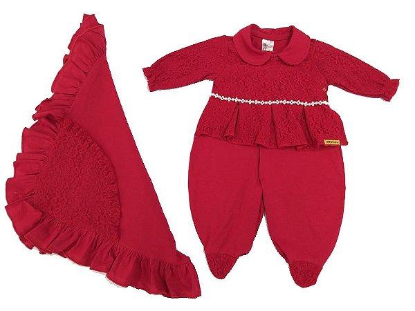 Saída Maternidade Peróla Vermelha em Malha - 2 peças