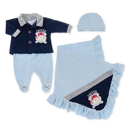Saída Maternidade Soccer Azul - 3 peças