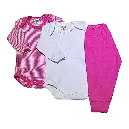 Kit Body Bebê 3 Peças Listrinhas Pink